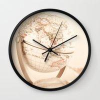 globe Wall Clocks featuring Globe by INK Photos