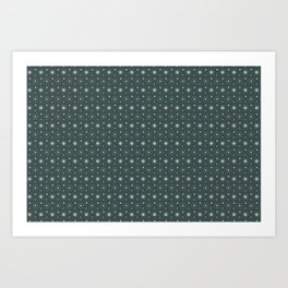 Circle Polka Dot Pattern 6, Night Watch, Alpaca Wool Cream and Scarborough Green Art Print