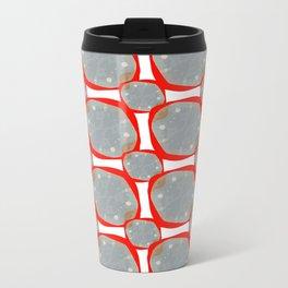 Red Organic Rings Metal Travel Mug