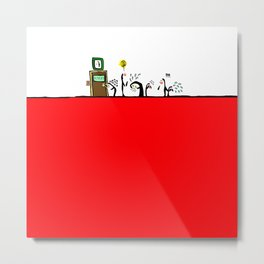 Redlight Penguin Metal Print