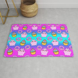 Cute funny Kawaii chibi pink little playful baby bunnies, happy sweet donuts and adorable colorful yummy cupcakes rainbow blue seamless pattern design. Rug