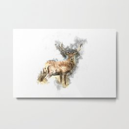 Watercolor Deer Metal Print