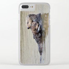 sea otter hug Clear iPhone Case