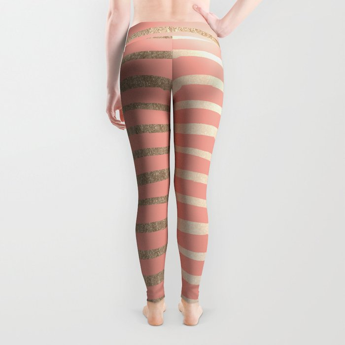 Abstract Stripes Gold Coral Pink Leggings