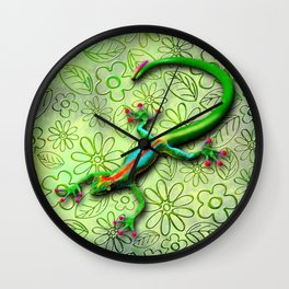 Gecko Lizard Rainbow Colors Wall Clock
