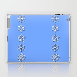 Five Unique Snowflakes in a Row on Sky Blue Background Laptop & iPad Skin