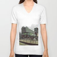 oslo V-neck T-shirts featuring Modern city center of Oslo in Norway by Sunsetter Impact