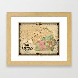 Map of Iowa (1845) Framed Art Print
