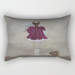 girl and dog Rectangular Pillow