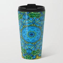Lovely Healing Mandalas in Brilliant Colors: Blue, Gold, and Green Metal Travel Mug