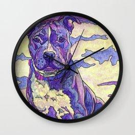 Rainbow Blue Nose Pitbull Wall Clock