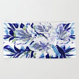 Royal Blue Floral Abstract Beach Towel