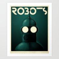 bender Art Prints featuring Robots - Bender by Greg-guillemin