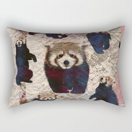 Red Panda Abstract  mixed media digital art collage Rectangular Pillow