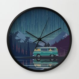 Retro Camping under the stars Wall Clock