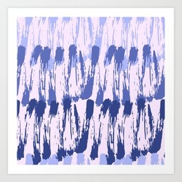 Navy blue lavender watercolor abstract hand painted brushstrokes Art Print