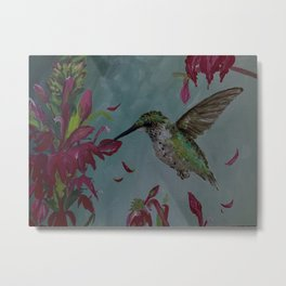 Mrs. Hummingbird Politely Eats Her Supper Metal Print
