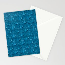 Anchor Pattern On Blue Wood Texture Stationery Cards