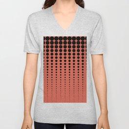 Reduced Black Polka Dots Pattern on Solid Pantone Living Coral Background Unisex V-Neck