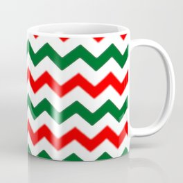 Modern red green white Christmas chevron pattern Coffee Mug
