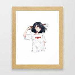 Sad anime aesthetic - Fuck off Framed Art Print