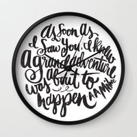 adventure Wall Clocks featuring grand adventure by Matthew Taylor Wilson