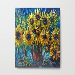 Sunflowers In A Vase Palette Knife Painting Metal Print