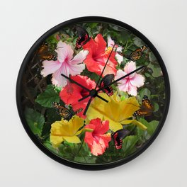 Hibiscus meeting Wall Clock
