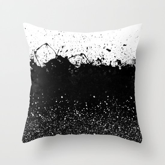 Black and White Splatter Theme Throw Pillow by Cafelab Society6