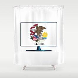 Illinois Flag TV Shower Curtain