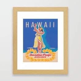 Hawaii Hula Girl Vintage Travel Poster Framed Art Print