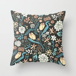 Tulip flowerbed, blue Throw Pillow
