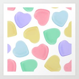 Candy Conversation Hearts Pattern Art Print