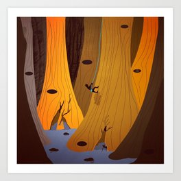 wood of the red Art Print