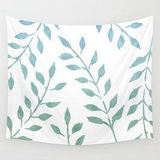 Garden Leaves Turquoise Mint Green Wall Tapestry
