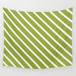 Olive Diagonal Stripes Wall Tapestry