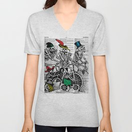 Calavera Cyclists | Skeletons on Bikes | Day of the Dead | Dia de los Muertos | Dictionary Text | Unisex V-Neck