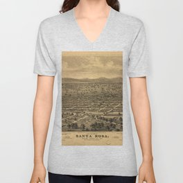 Vintage Bird's Eye Map Illustration - Santa Rosa, Sonoma County, California (1876) Unisex V-Neck