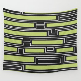 Geometry, black, white and olive green Wall Tapestry