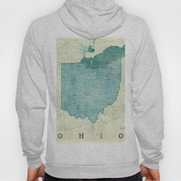Ohio State Map Blue Vintage Hoody