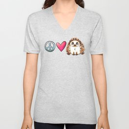 Peace, Love and Hedgehogs Unisex V-Neck