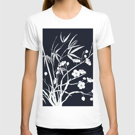 bamboo and plum flower white on black T-shirt
