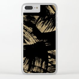 Elegant black faux gold modern brushstrokes pattern Clear iPhone Case