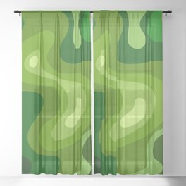 Multi Color Green Liquid Abstract Design Sheer Curtain