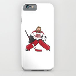 Funny Hockey Jesus Saves Hockey Goalie iPhone Case
