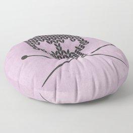 Knitted Skull (Black on Pink) Floor Pillow