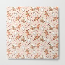 Gingerbread & Peppermint Repeat Pattern -Holiday Pattern Metal Print