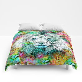 LION and Flowers Comforters