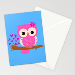 Pink Owl On A Branch | 8 Bit Pixel Art Stationery Cards