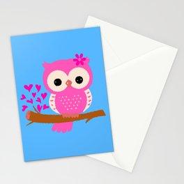 Pink Owl On A Branch | 8 Bit Pixel Art Stationery Cards